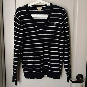 US Polo Assn. Black white Stripes sweater Large
